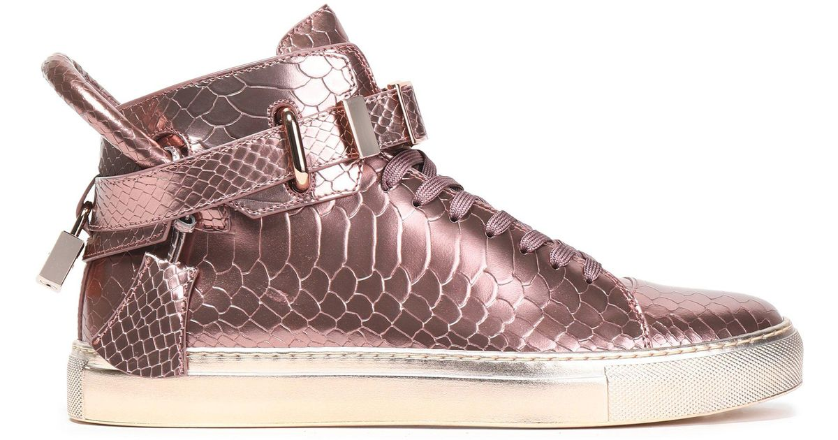 c521dc7c490655 Buscemi Embellished Metallic Snake-effect Leather High-top Sneakers in Pink  - Lyst