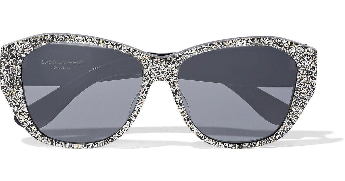 fd7a15ccd9d Saint Laurent Butterfly-frame Glittered Acetate Sunglasses in Metallic -  Lyst