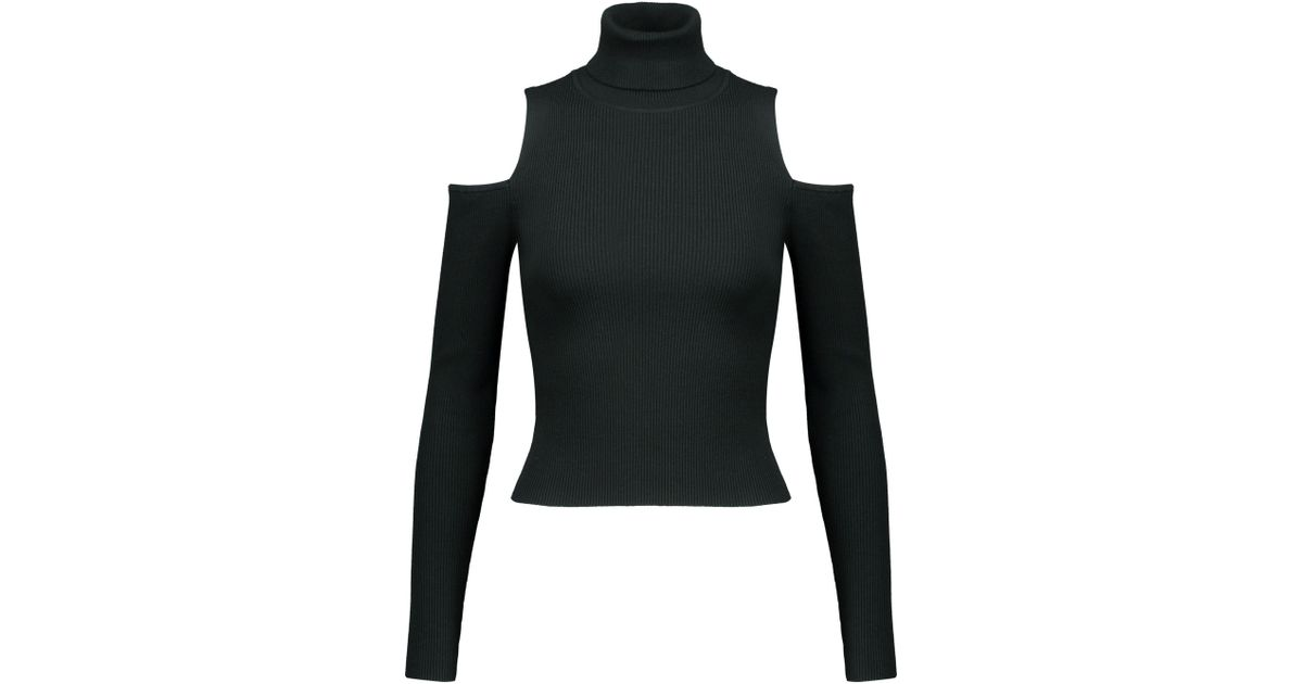 A.l.c. Woman Mervyn Cold-shoulder Ribbed-knit Turtleneck Sweater Emerald Size M A.L.C. RS7pt9H3