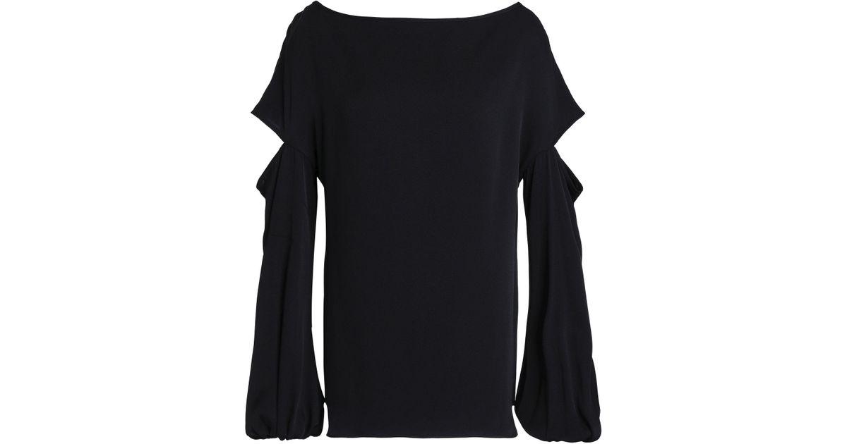 f4717b70761b7 Milly Dahlia Cutout Stretch-silk Blouse in Black - Lyst
