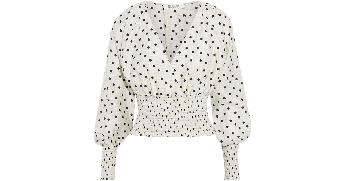 deb046c2e506d Lyst - Diane von Furstenberg Woman Cape-effect Shirred Polka-dot Silk Crepe  De Chine Blouse Ivory in White