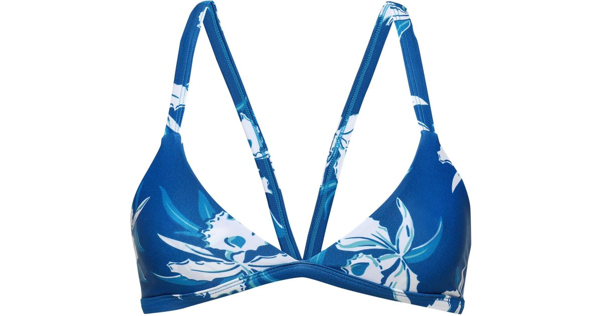 58691f5d77 Lyst - Mikoh Swimwear Floral-print Triangle Bikini Top in Blue