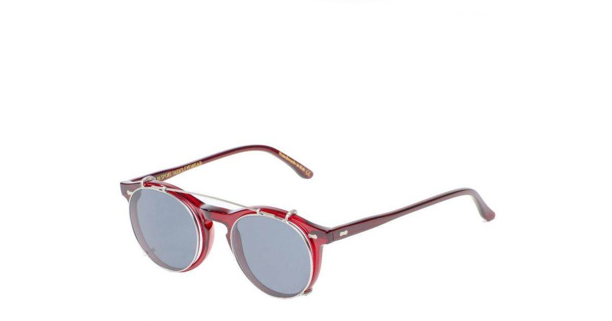 9a71704f2a Lyst - The Bespoke Dudes Eyewear Pleat Red And Grey Lenses Clip-on  Sunglasses in Red for Men