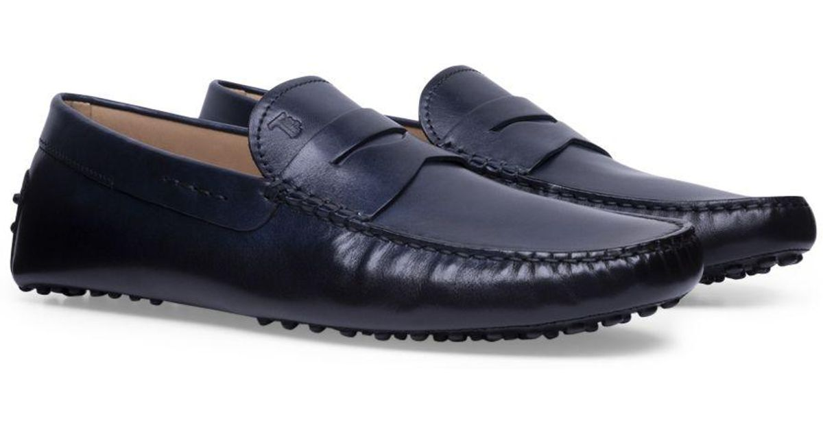 ca38ba1e8 Tod's Blue Hand-patinated Leather Gommino Driving Shoes in Blue for Men -  Lyst