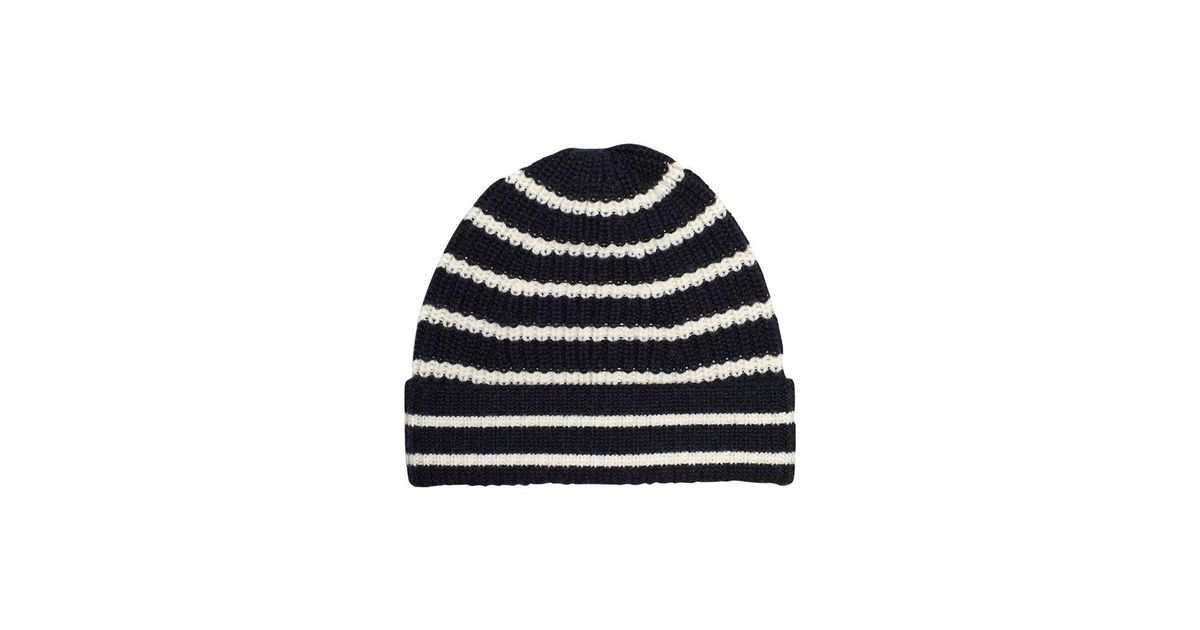 001da0c08 The Workers Club - Blue Navy And Cream Stripe Merino Wool Beanie for Men -  Lyst
