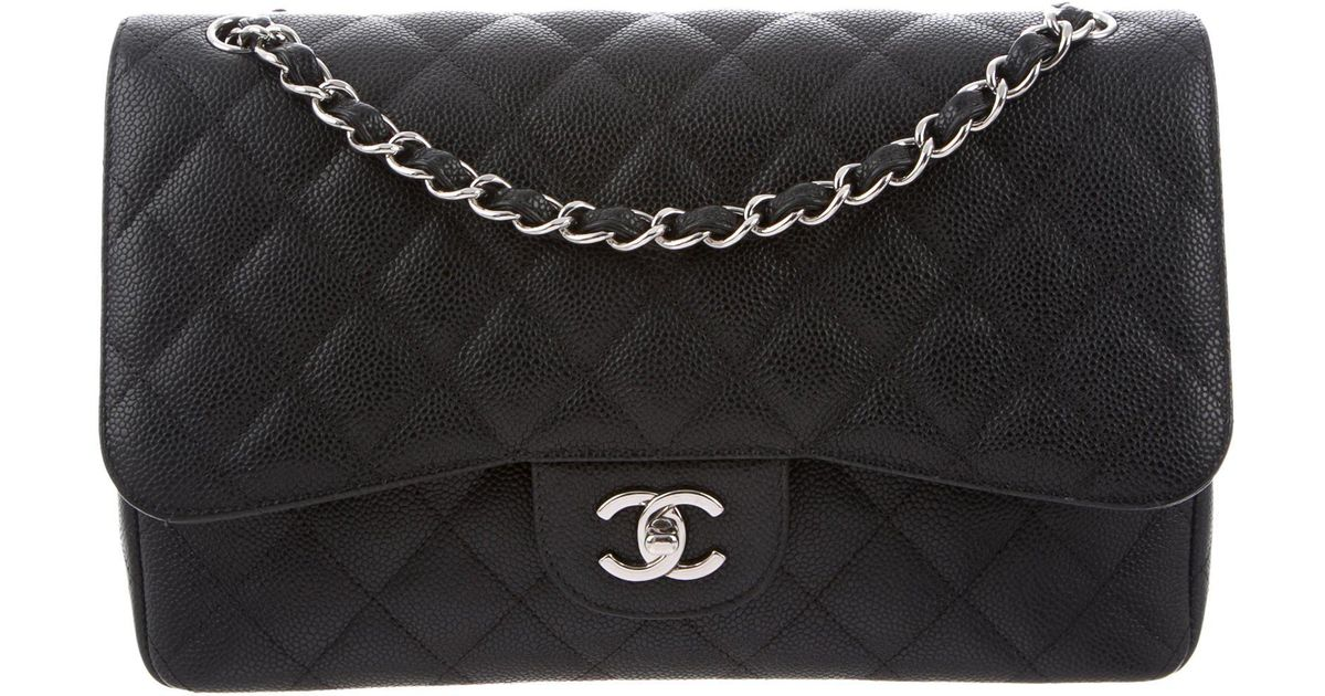 7ed43bbde15d Lyst - Chanel Classic Jumbo Double Flap Bag Black in Metallic