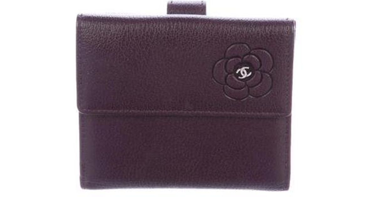 3029f89d62a2 Lyst - Chanel Camellia Compact Wallet Purple in Metallic