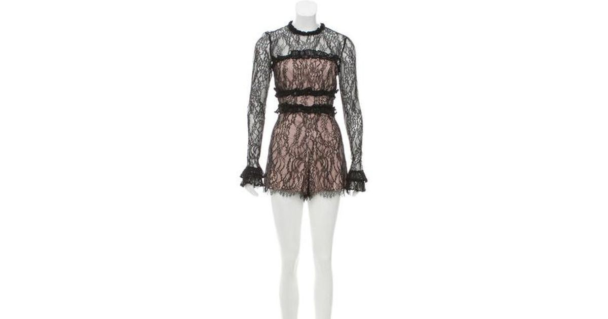 4098e4e3492b Lyst - Alexis Long Sleeve Lace Romper in Black - Save 29.936305732484072%