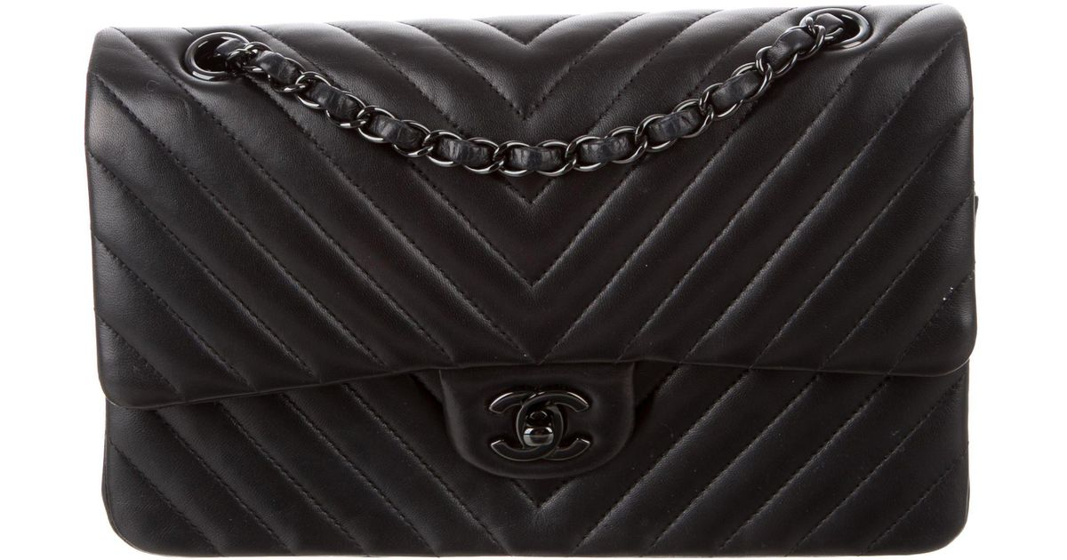 594dc607a69e Chanel So Black Chevron Classic Reissue 226 Medium 2.55 Double Flap Bag