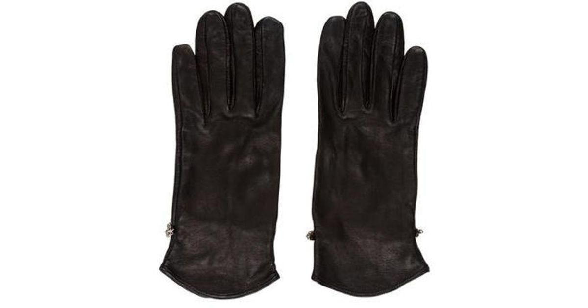 ed8dc233394 Lyst - Judith Leiber Leather Embellished Gloves in Black