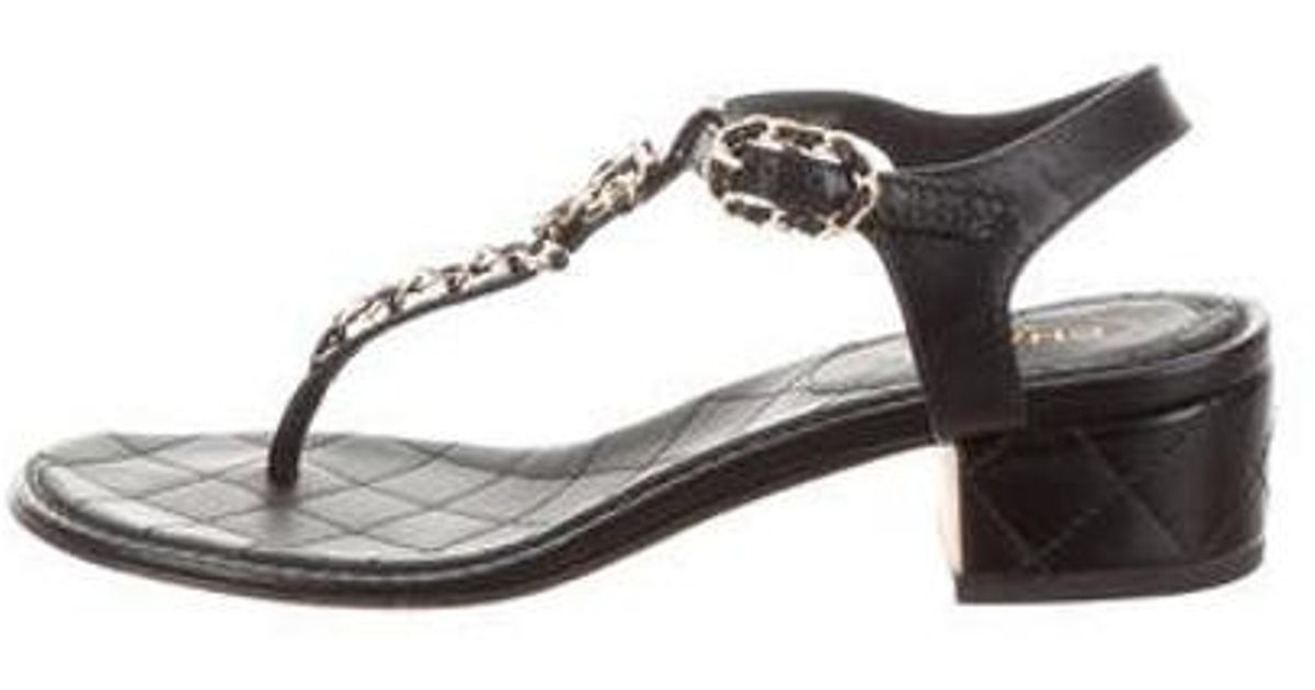 8517a07164f607 Lyst - Chanel 2016 Cc Chain-link Sandals in Black