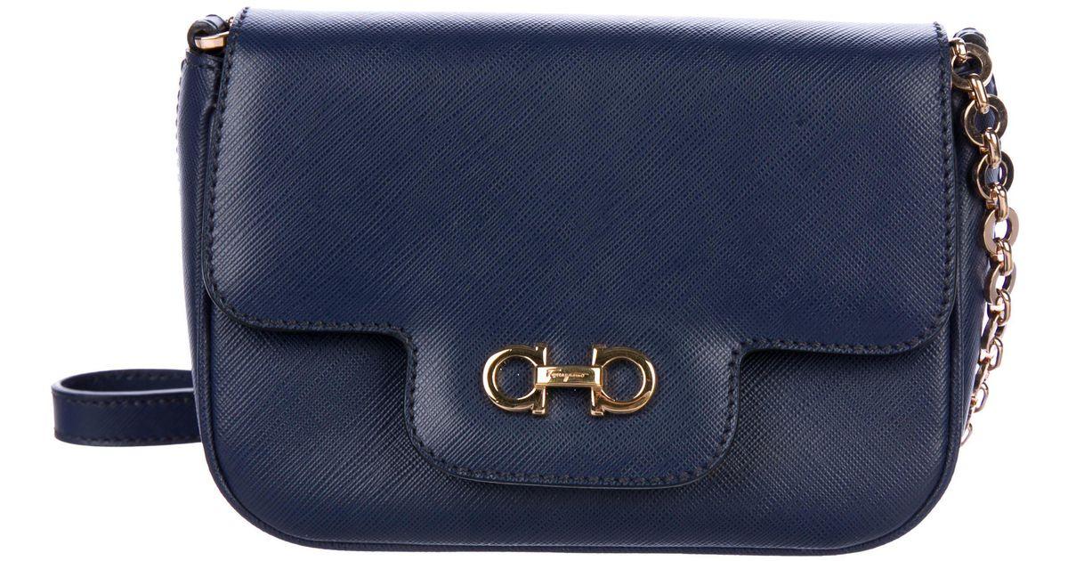 Lyst - Ferragamo Saffiano Fancy Shoulder Bag Blu in Metallic 0c9f815630127