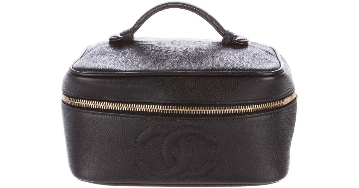 58f38b50b00e7e Lyst - Chanel Caviar Timeless Cc Vanity Case Black in Metallic