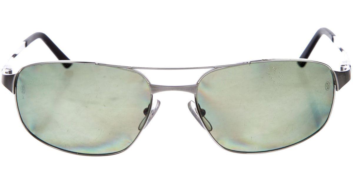 2e02cb2da6 Lyst - Cartier Santos De Polarized Sunglasses Silver in Metallic