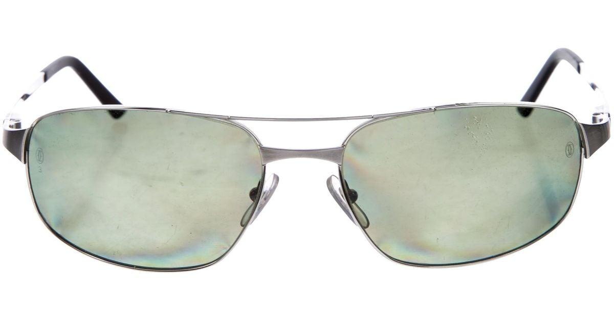 421c2cd6c441 Lyst - Cartier Santos De Polarized Sunglasses Silver in Metallic