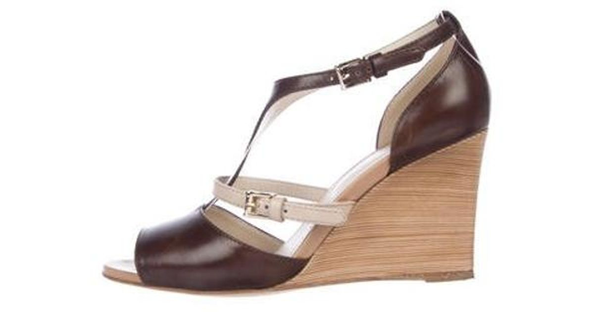 6c8b02992c Lyst - Tod'S Leather Caged Wedge Sandals in Brown