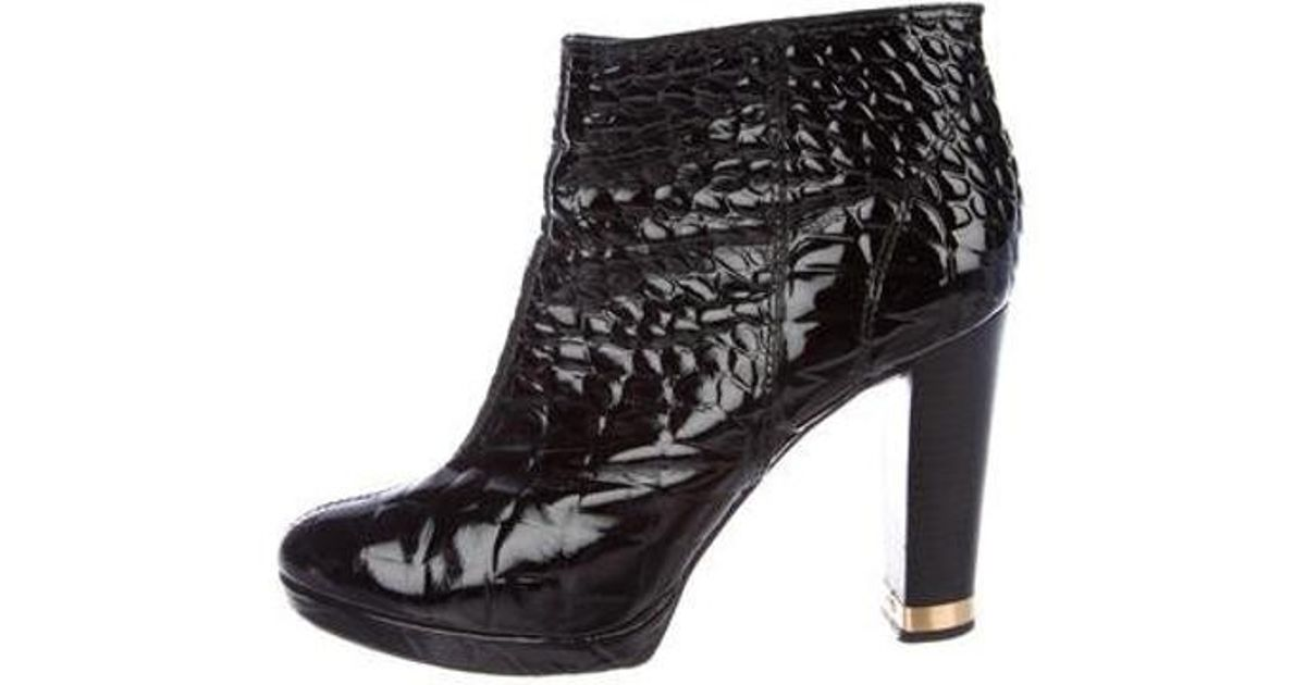 31b17d9032a5aa Lyst - Tory Burch Embossed Patent Leather Boots Black in Metallic