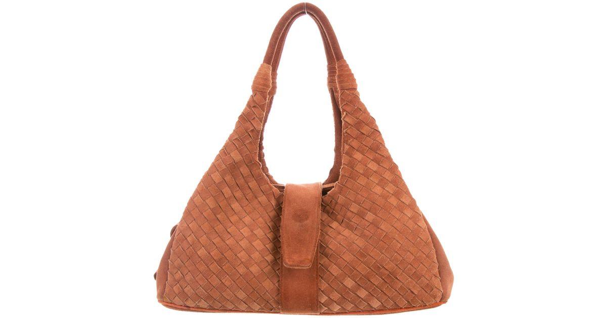 8ed8a5bad0dc Lyst - Bottega Veneta Intrecciato Suede Bag Orange in Metallic