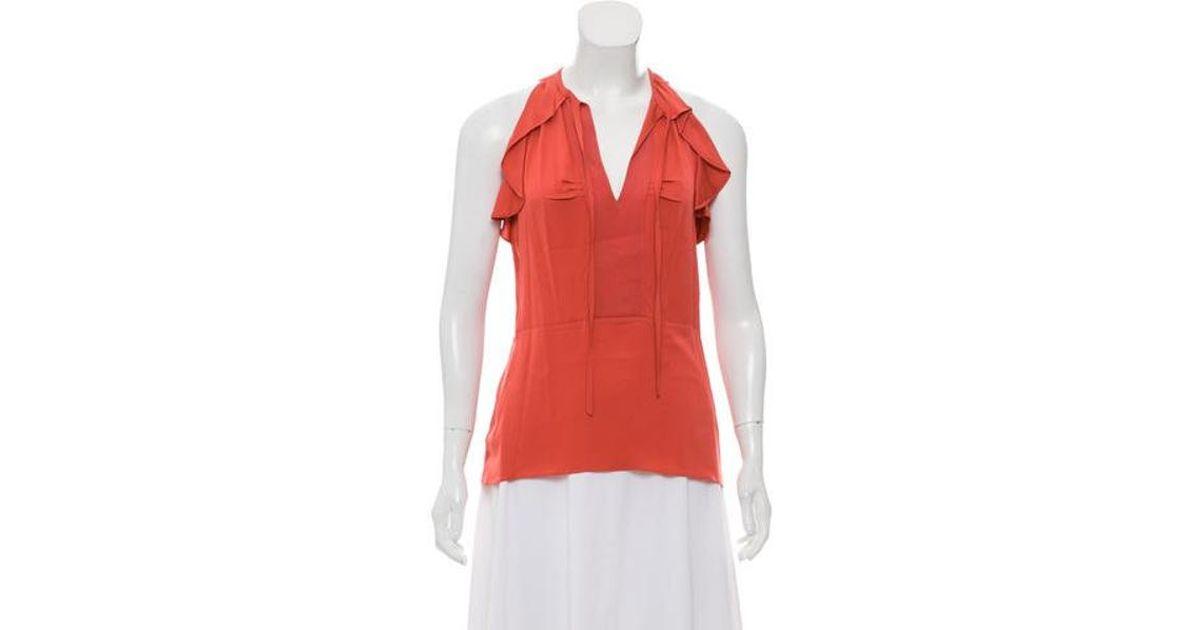 8ba6e727fcaf8 Lyst - Diane Von Furstenberg Berit Silk Top Coral in Red