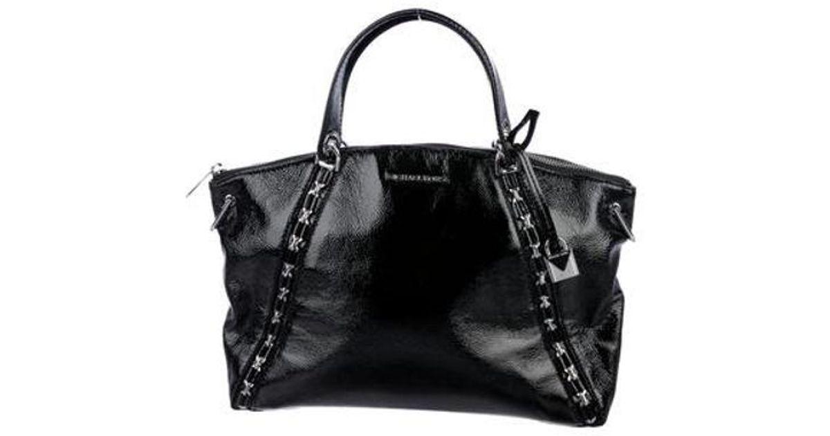 4c813bad6cac Lyst - Michael Michael Kors Michael Kors Sadie Patent Leather Satchel Black  in Metallic