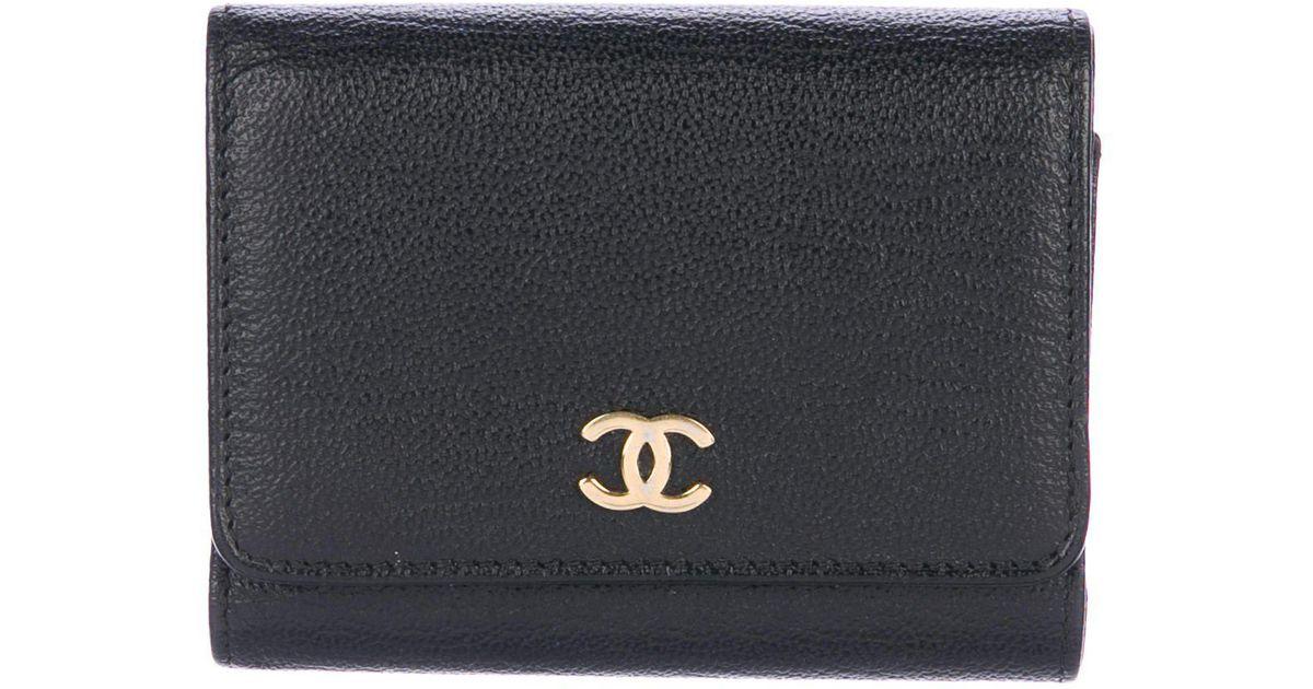 Lyst Chanel Cc Business Card Holder Black In Metallic
