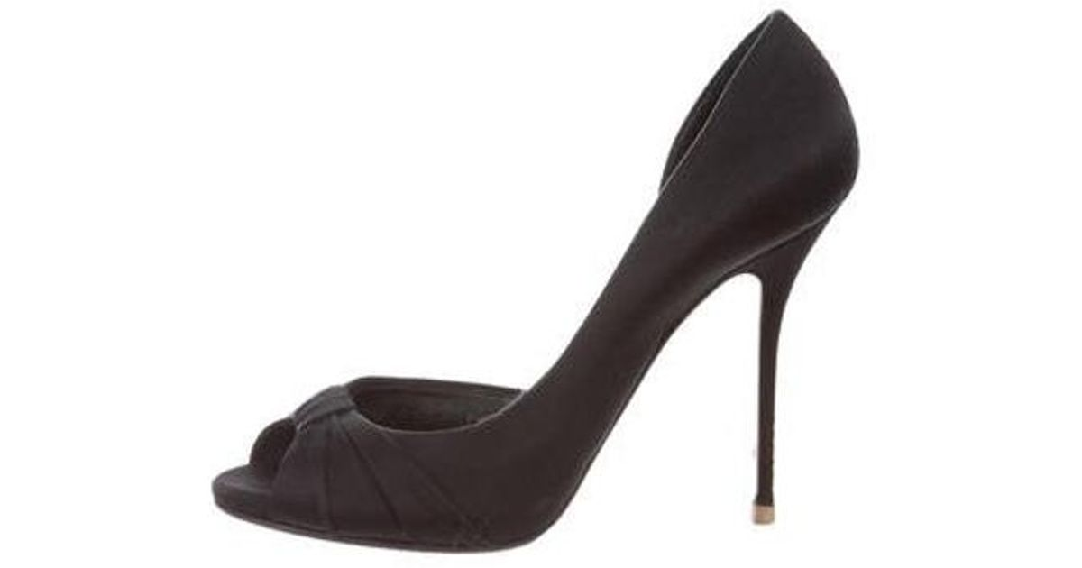1bbc655b9ec Lyst casadei satin peep toe pumps in black jpg 1200x630 Black satin peep toe  pumps