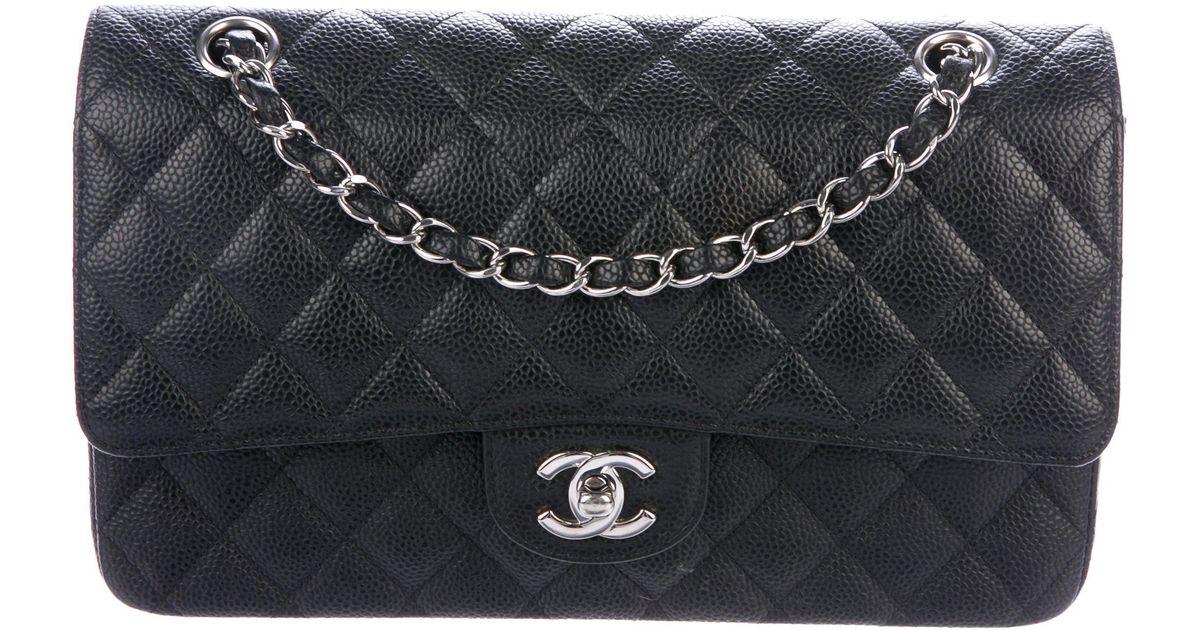 2abab594ad59 Lyst - Chanel Caviar Classic Medium Double Flap Bag Black in Metallic