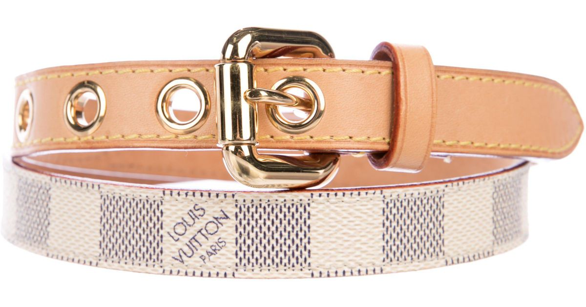 6202f3f89e4f Lyst - Louis Vuitton Damier Azur Mini Belt Navy in Natural