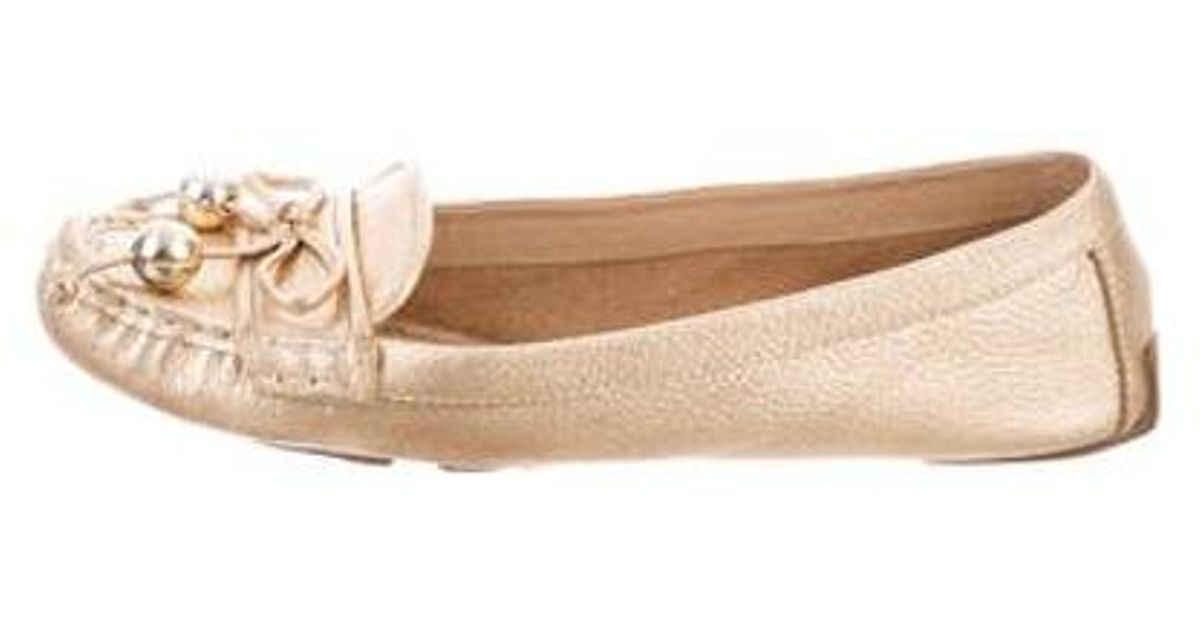 816aab59dd6 Lyst - Kate Spade Leather Loafers Gold in Metallic