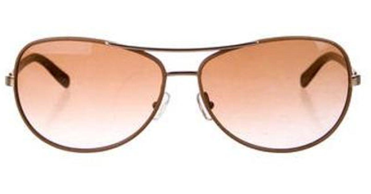 2be3a323b9cb8 Lyst - Tory Burch Tinted Aviator Sunglasses Orange in Metallic