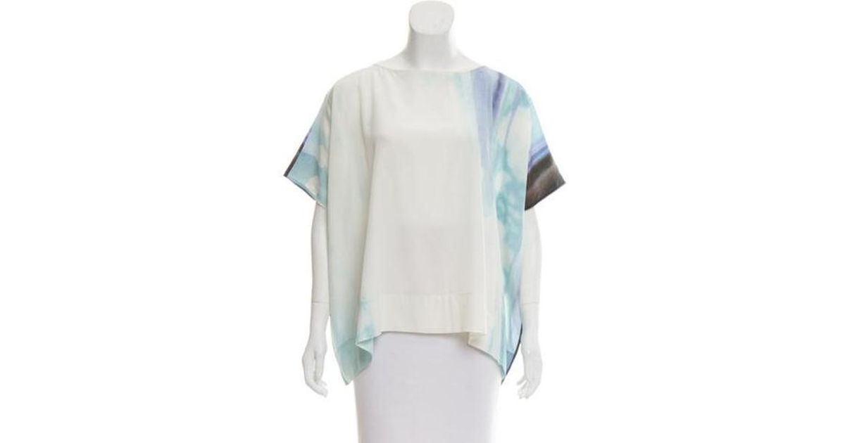 57c3c5be4c6857 Lyst - Diane Von Furstenberg New Hanky Silk Top in White