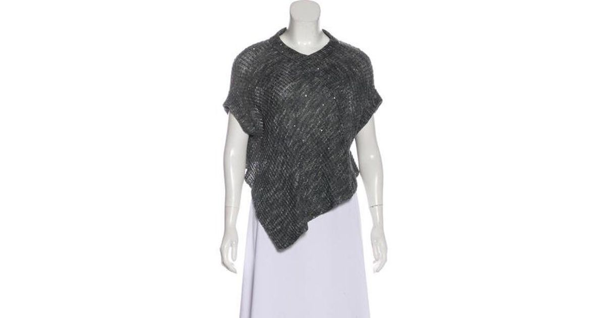 6165fc634b Lyst - Brunello Cucinelli Sequined Knit Sweater in Blue