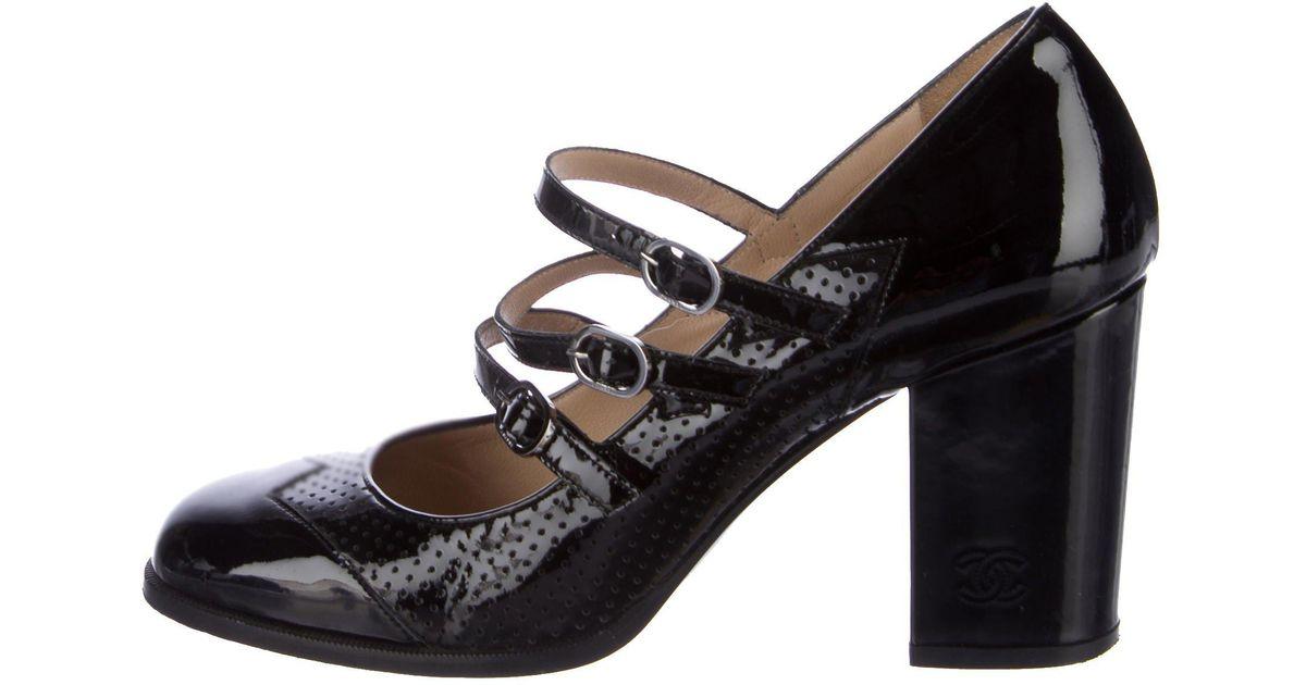 0a19da44fa57 Lyst - Chanel Cc Mary Jane Pumps Black in Metallic