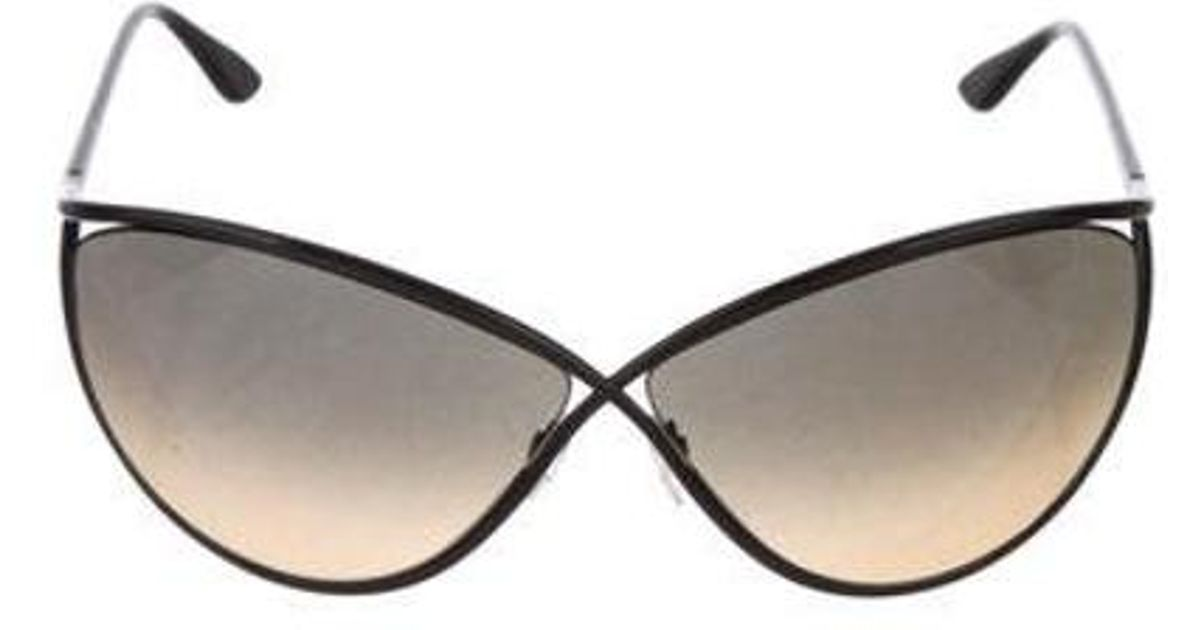 ba980290b6d8 Lyst - Tom Ford Narcissa Oversize Sunglasses W  Tags Black in Metallic