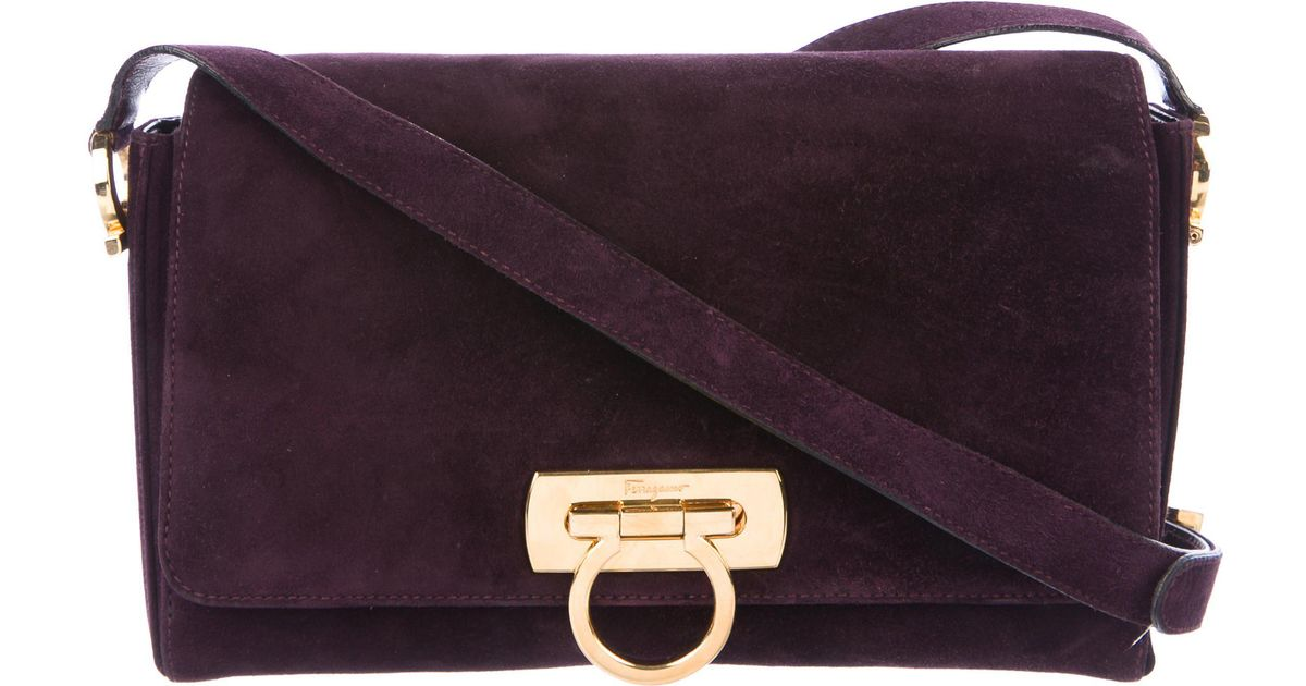 7d6b1b1af38e Lyst - Ferragamo Gancio Suede Crossbody Bag Purple in Metallic