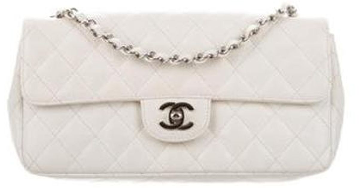 92e21561d428 Lyst - Chanel Quilted Caviar E/w Flap Bag Silver in Metallic