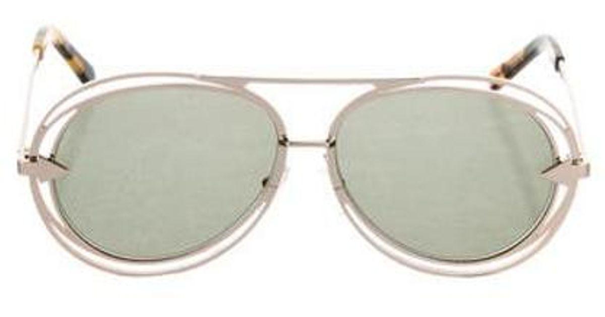 2327f6945a033 Lyst - Karen Walker Aviator Tinted Sunglasses Gold in Metallic
