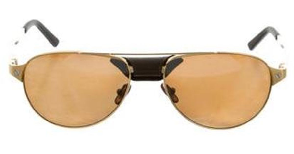 f79a52435f9 Lyst - Cartier Santos Dumont Polarized Sunglasses W  Tags Gold in Metallic