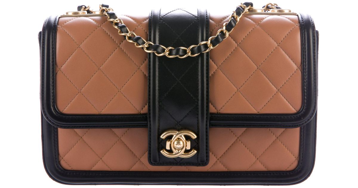 52249eaee597 Lyst - Chanel 2016 Elegant Medium Flap Bag Tan in Metallic