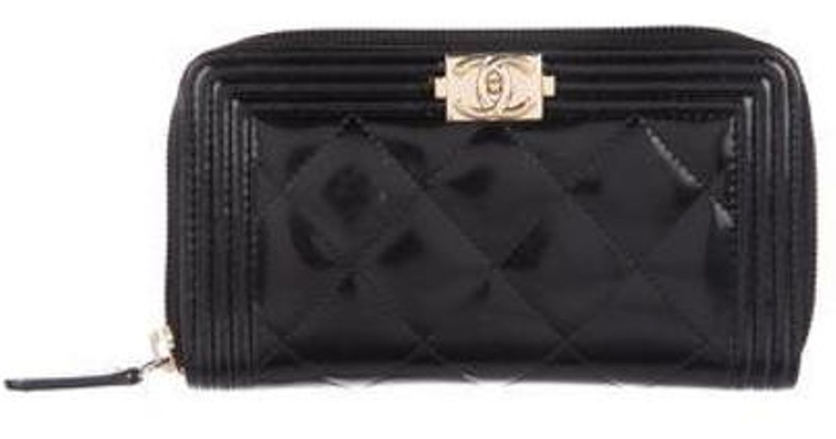 0afeba99411b60 Lyst - Chanel 2016 Quilted Boy L-gusset Zip Wallet Black in Metallic