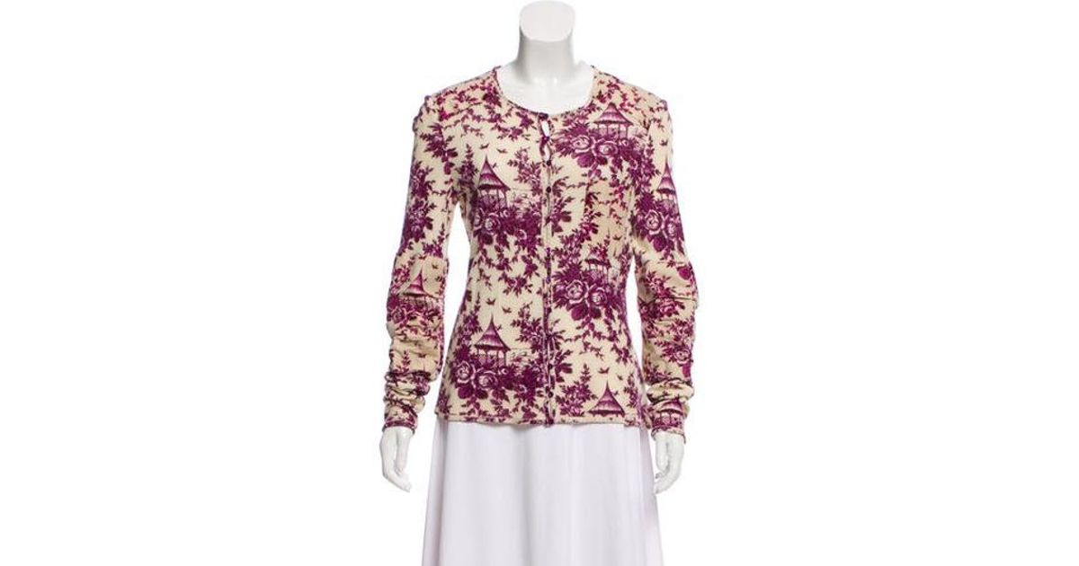 Lyst - John Galliano Printed Long Sleeve Cardigan in Purple 2021a564b