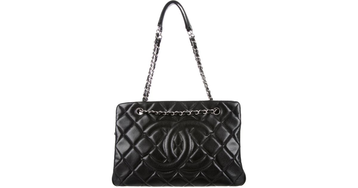 Lyst - Chanel Caviar Timeless Soft Shopper Tote Black in Metallic 7cd9aca97f3aa