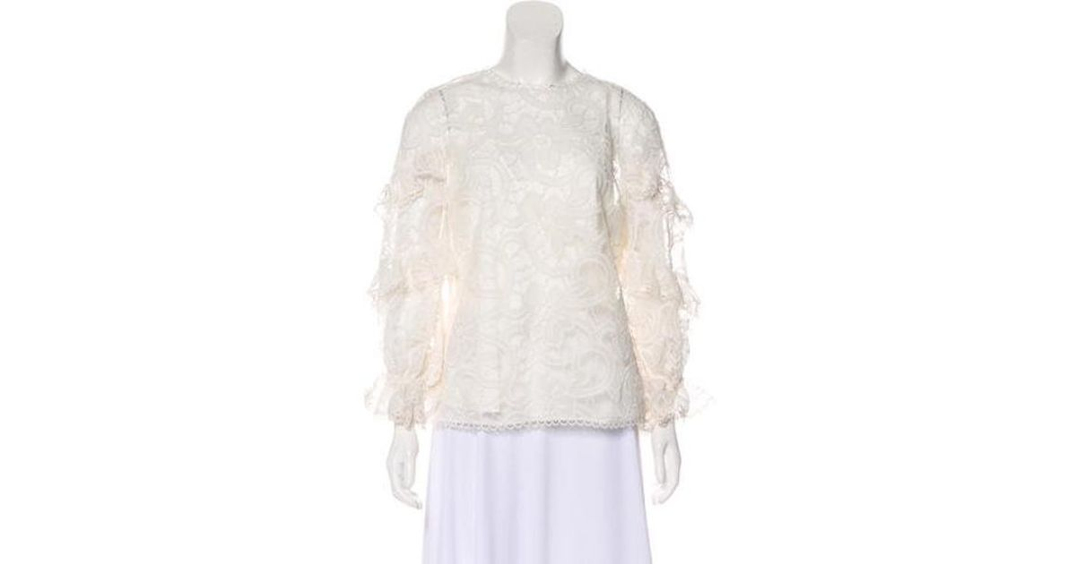 3c62906ba85dc Lyst - Alexis Long Sleeve Lace Blouse W  Tags in White