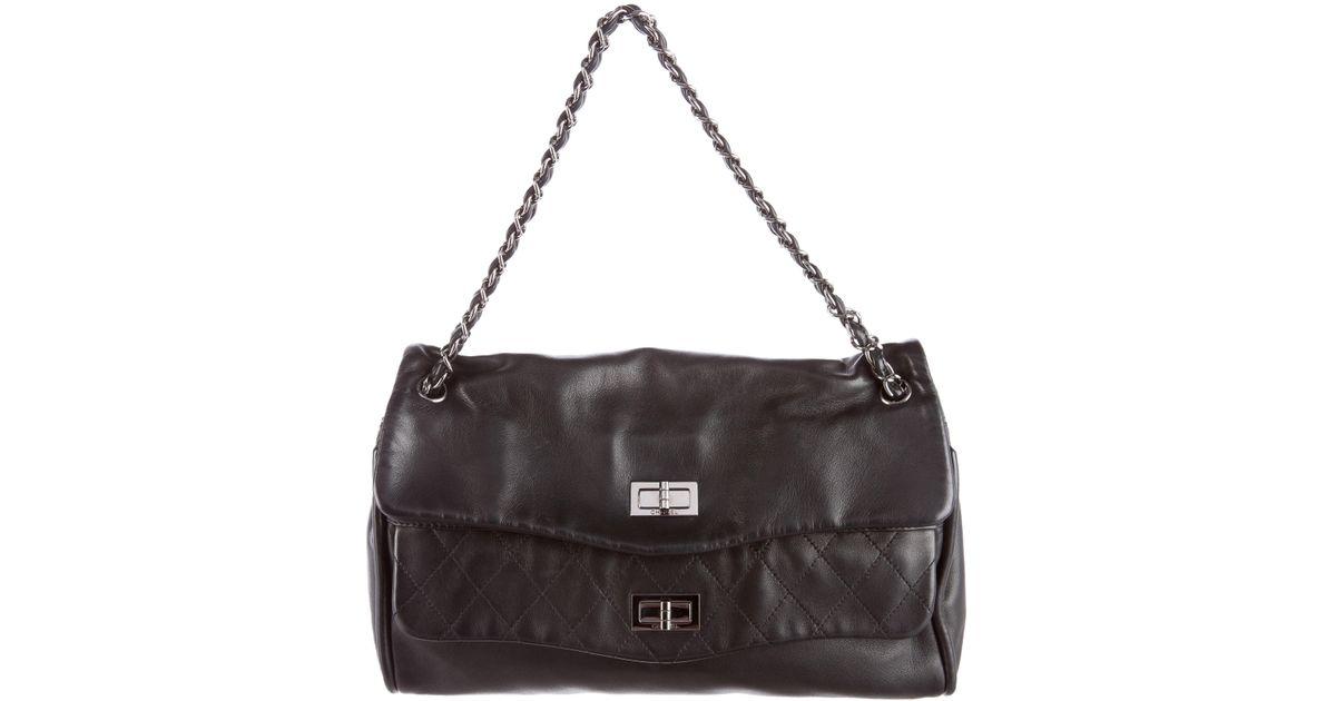 7386d28b441f Lyst - Chanel Reissue Dual Pocket Bag Black in Metallic