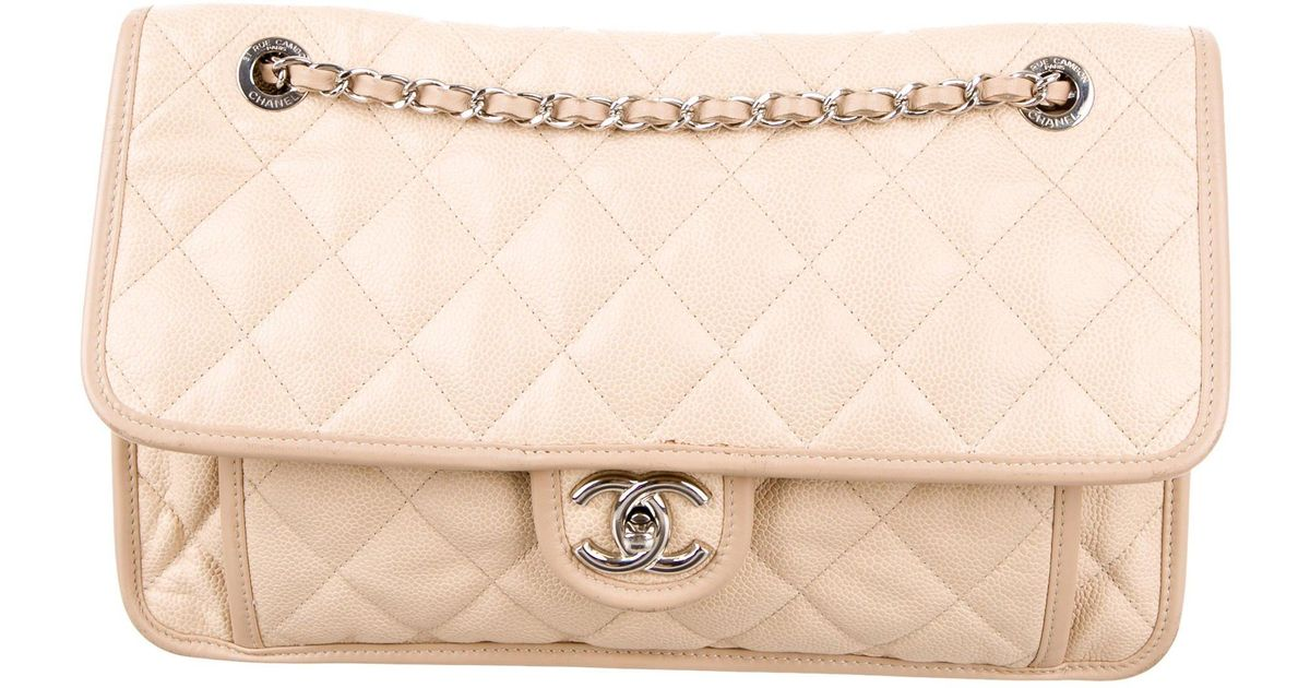 9a0524bd8d50 Lyst - Chanel Large French Riviera Flap Bag Beige in Metallic