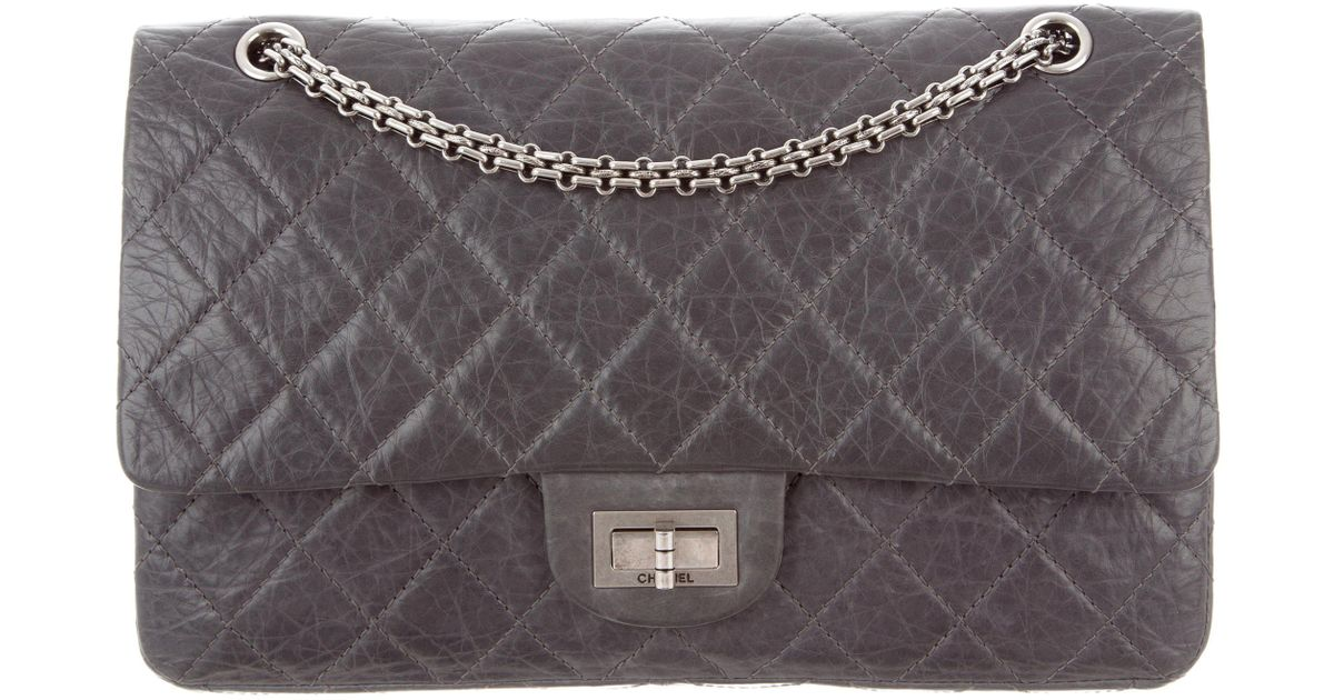 ded494a0f9a1 Lyst - Chanel Anniversary 2.55 Reissue 227 Flap Bag Grey in Metallic
