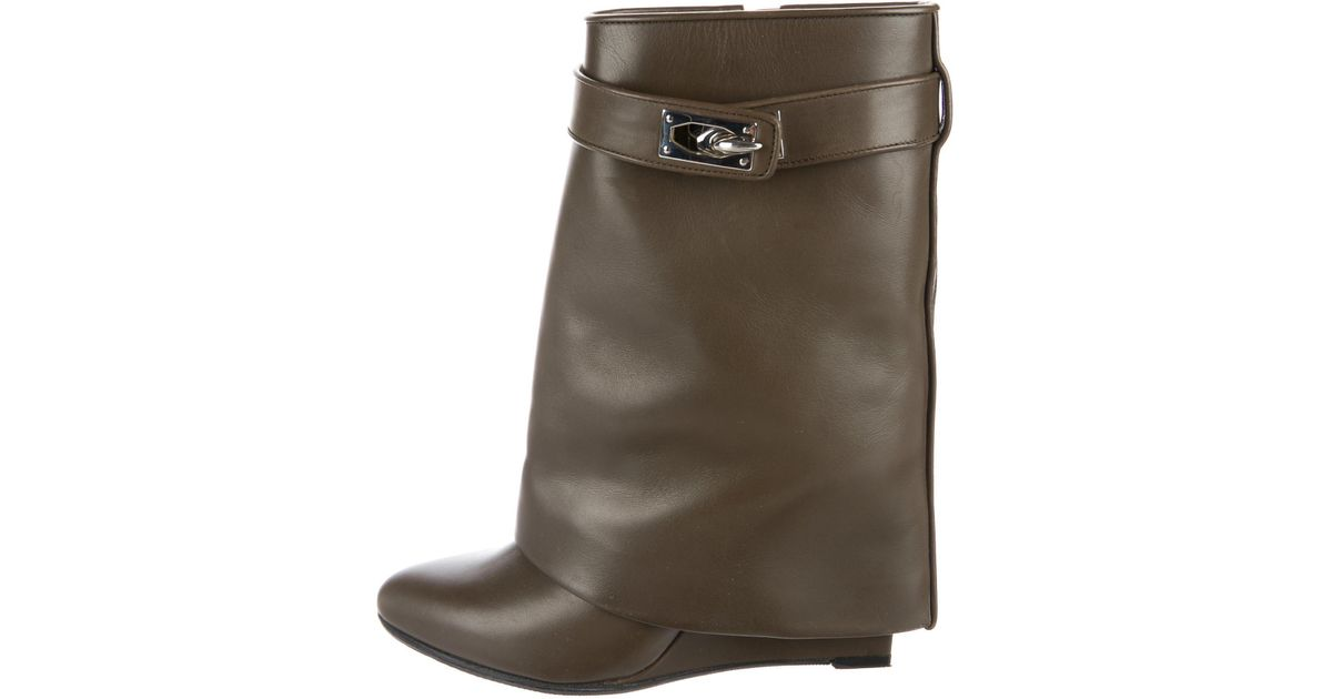 f276558fb270 Lyst - Givenchy Leather Shark Lock Ankle Boots Olive in Metallic