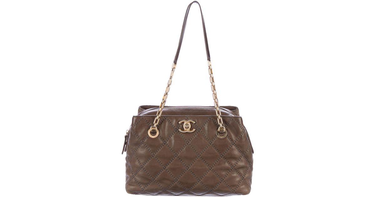 36adb470c135 Lyst chanel small retro chain shopper tote brown in metallic jpeg 1200x630  Chanel small shopper handbag