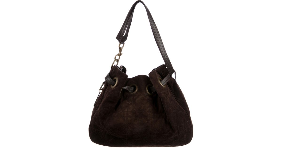d99481ea6a9c Lyst - Dior Suede Cannage Hobo Gold in Metallic