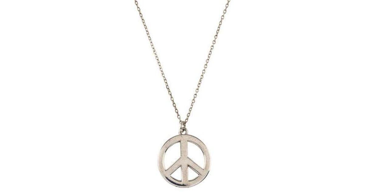 Lyst tiffany co peace sign pendant necklace silver in metallic aloadofball Images